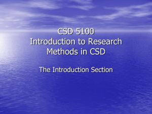 CSD 5XXX Introduction to Research Methods in CSD