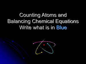 Counting Atoms and Balancing Chemical Equations