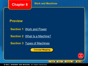 Ch 8 ppt: Work and Machines