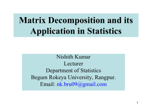 Matrix Decomposition and its Application in Statistics