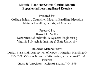Material Handling Costing Exercise