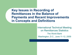 Key Issues in Recording of Remittances in the Balance of Payments