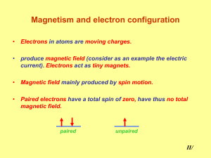 Magnetism and electron configuration
