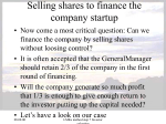 Selling shares to finance the company startup