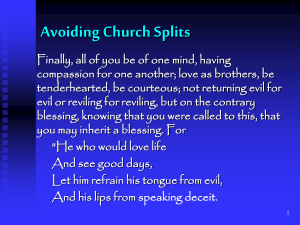 avoiding church spilits - forest hills church of christ