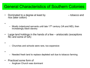 General Characteristics of Southern Colonies