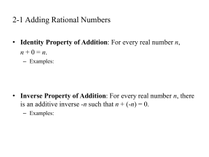 2-1 Adding Rational Numbers