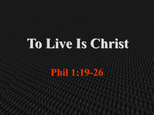 To Live Is Christ - Cooper Church of Christ