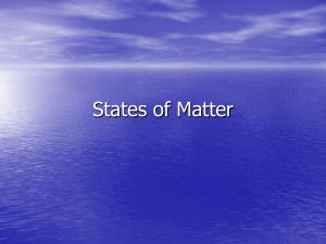 States of Matter and Chemical verses Physical