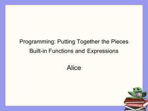Programming pieces - built-in functions and expressions