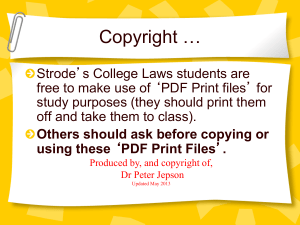 Powerpoint - Copyright of Dr Peter Jepson