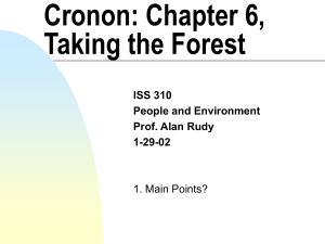 Cronon: Chapter 6, Taking the Forest