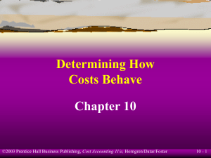 Determining How Costs Behave