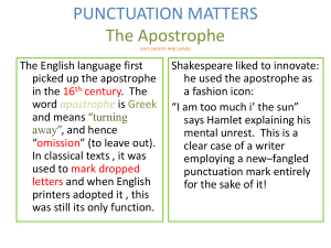 PUNCTUATION MATTERS apostrophes
