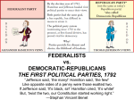 FEDERALISTS vs. REPUBLICANS THE FIRST POLITICAL PARTIES