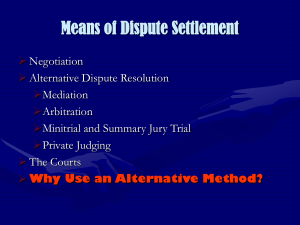 Means of Dispute Settlement
