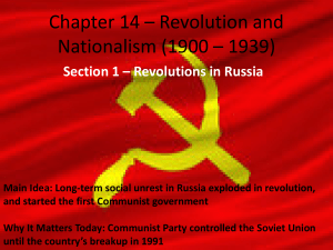 Chapter 14 – Revolution and Nationalism (1900 – 1939)