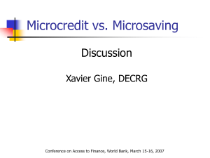 Microcredit vs. Microsaving