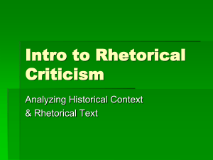 Intro to Rhetorical Criticism