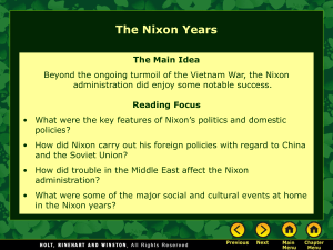 Nixon`s Foreign Policies with China and the Soviet Union