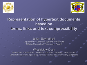 Representation of hypertext documents based on