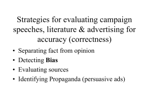 Strategies for evaluating campaign speeches, literature