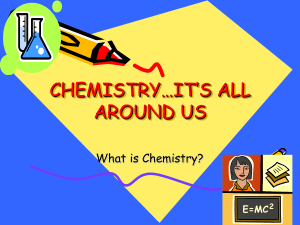 - Chemistry...It`s All Around Us!