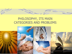 01. Philosophy, its main categories and problems
