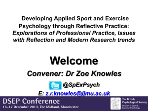 Paper 1: Developing Applied Sport and Exercise Psychology