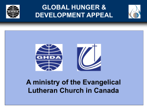 GHDA is an APPEAL - Evangelical Lutheran Church in Canada
