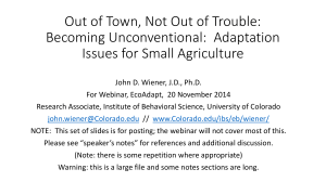 Becoming Unconventional: Adaptation Issues for Small Agriculture