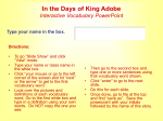 In the Days of King Adobe Interactive Vocabulary Link PPT