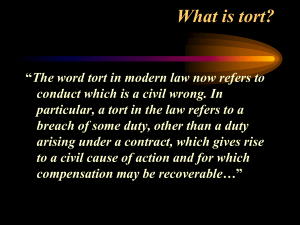 What is tort? - WRCBusinessManagementWiki2010