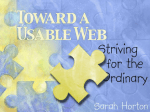 Toward a Usable Web: Striving for the Ordinary