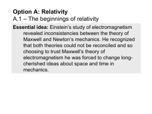 Option A.1 - The beginnings of relativity