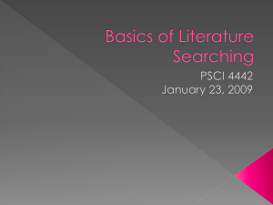 Basics of Literature Searching