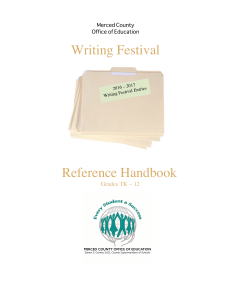 Writing Festival Ha​ndbook - Merced County Office of Education