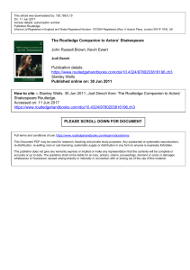 The Routledge Companion to Actors` Shakespeare John Russell