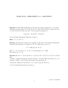 Assignment 4 Solutions - Math @ McMaster University