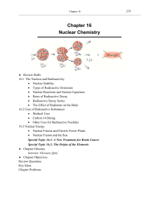 Chapter 16 Nuclear Chemistry - An Introduction to Chemistry