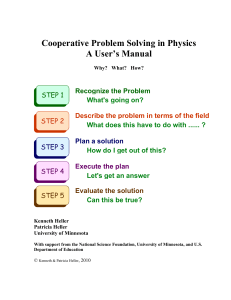 Cooperative Problem Solving in Physics A User`s Manual