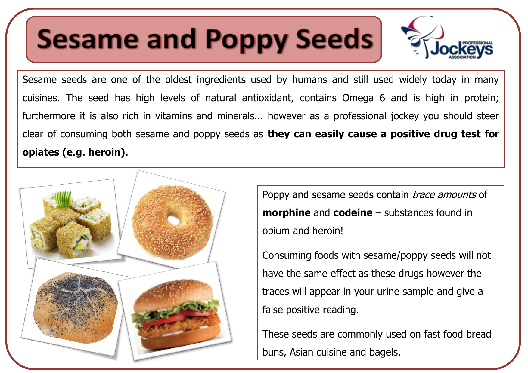 Sesame and Poppy Seeds - The Professional Jockeys Association