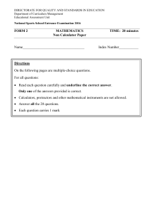 Non-Calculator Paper - National Sport School