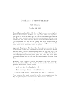 Math 153: Course Summary