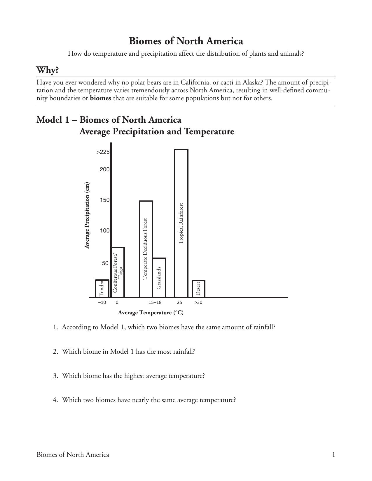 Printables Of Biomes Of North America Pogil Worksheet