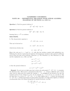 VANDERBILT UNIVERSITY MATH 196 — DIFFERENTIAL