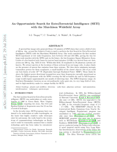 An Opportunistic Search for ExtraTerrestrial Intelligence (SETI) with