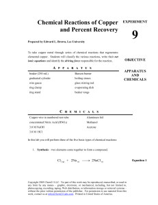 Chemical Reactions of Copper and Percent Recovery