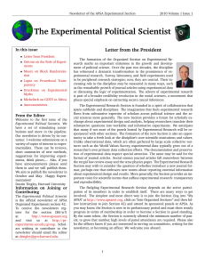 The Experimental Political Scientist