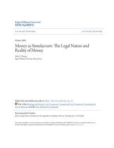 Money as Simulacrum: The Legal Nature and